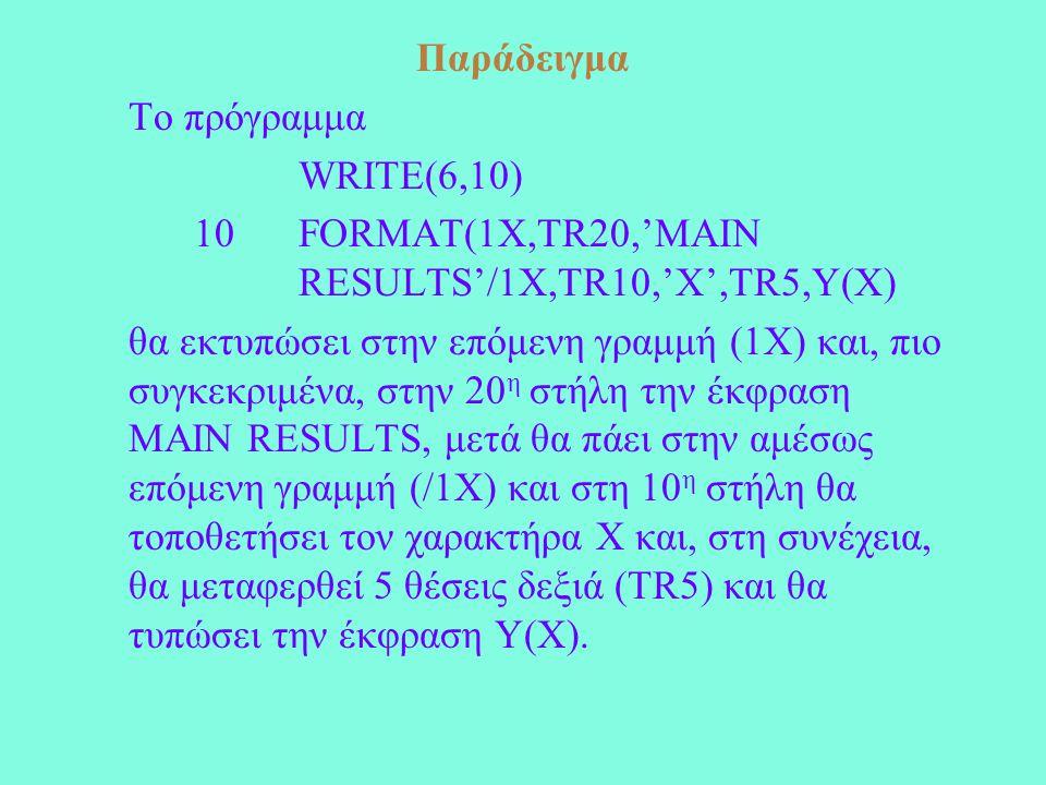 Παράδειγμα Το πρόγραμμα WRITE(6,10) 10FORMAT(1X,TR20,'MAIN RESULTS'/1X,TR10,'X',TR5,Y(Χ) θα εκτυπώσει στην επόμενη γραμμή (1Χ) και, πιο συγκεκριμένα, στην 20 η στήλη την έκφραση MAIN RESULTS, μετά θα πάει στην αμέσως επόμενη γραμμή (/1Χ) και στη 10 η στήλη θα τοποθετήσει τον χαρακτήρα Χ και, στη συνέχεια, θα μεταφερθεί 5 θέσεις δεξιά (TR5) και θα τυπώσει την έκφραση Y(X).