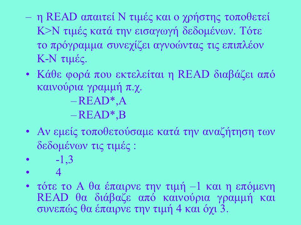 Παράδειγμα PROGRAM TEST IMPLICIT NONE INTEGER A,B,Y READ*,A,B Y=MOD(A,B) END PROGRAM TEST