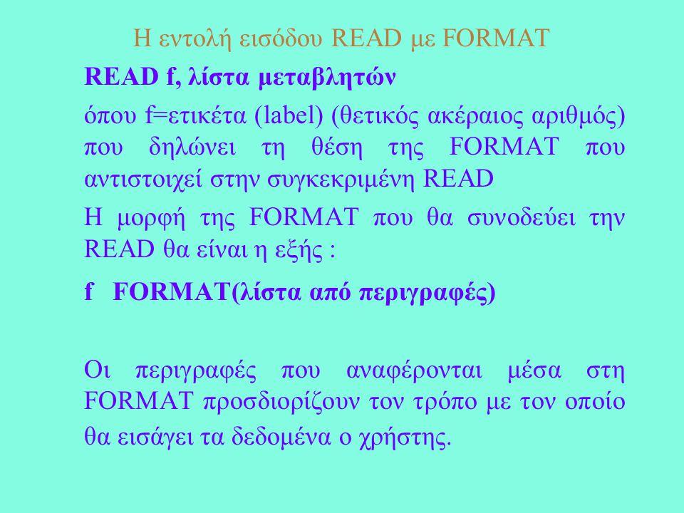Οι εντολές PRINT-WRITE με FORMAT Σύνταξη : PRINT f, λίστα σταθερών, μεταβλητών ή εκφράσεων ή WRITE(n,f) λίστα σταθερών, μεταβλητών ή εκφράσεων όπου n=*,0 ή 6 που δηλώνει ως μονάδα εξόδου την οθόνη και f=το label (ετικέτα) της FORMAT που συνδέεται με την αντίστοιχη WRITE-PRINT.