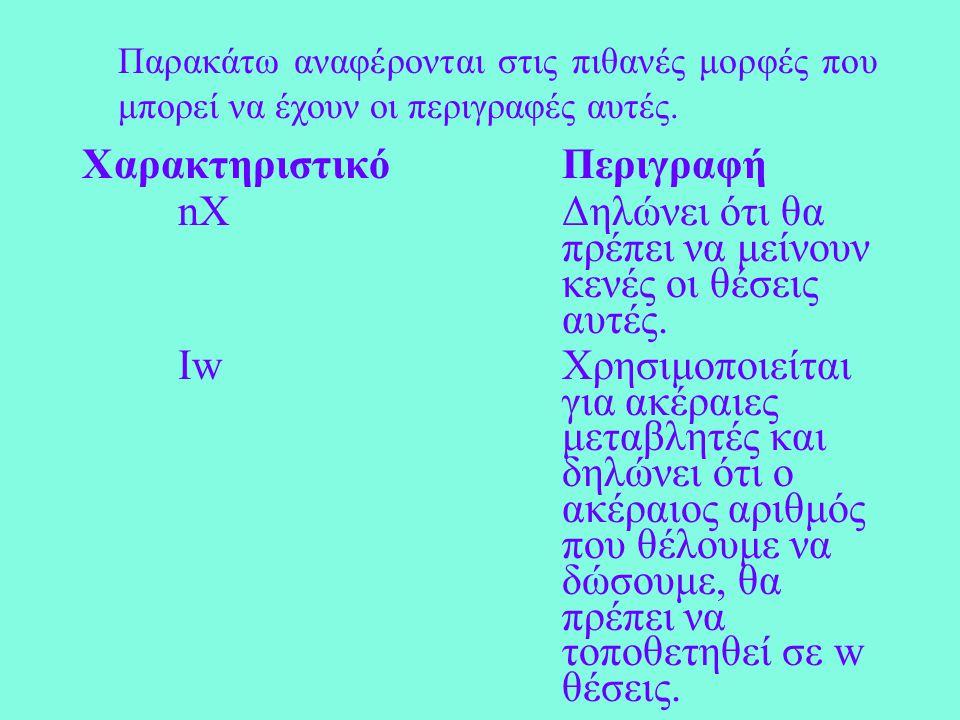 Η μορφή της FORMAT είναι: f FORMAT(λίστα από περιγραφές) Οι περιγραφές που αναφέρονται μέσα στη FORMAT και αφορούν τον τρόπο που θα εκτυπωθούν οι εκφράσεις της WRITE-PRINT, είναι ίδιες με τις αντίστοιχες περιγραφές της FORMAT για την εντολή READ.