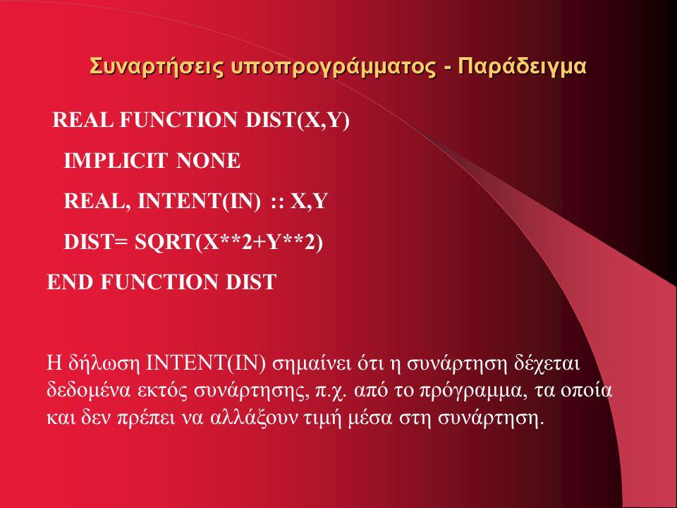 Συναρτήσεις υποπρογράμματος - Παράδειγμα REAL FUNCTION DIST(X,Y) IMPLICIT NONE REAL, INTENT(IN) :: X,Y DIST= SQRT(X**2+Y**2) END FUNCTION DIST Η δήλωσ