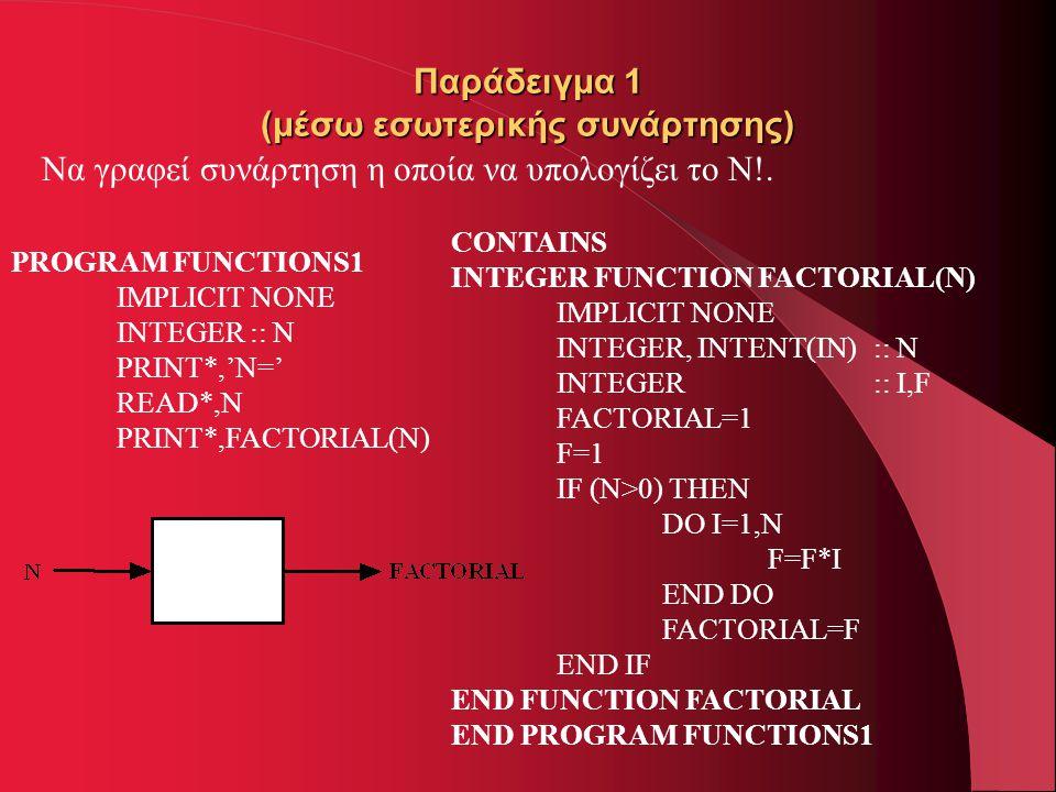 Παράδειγμα 1 (μέσω εσωτερικής συνάρτησης) Να γραφεί συνάρτηση η οποία να υπολογίζει το N!. PROGRAM FUNCTIONS1 IMPLICIT NONE INTEGER :: N PRINT*,'N=' R