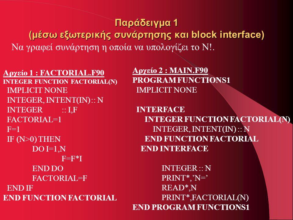 Παράδειγμα 1 (μέσω εξωτερικής συνάρτησης και block interface) Να γραφεί συνάρτηση η οποία να υπολογίζει το N!. Αρχείο 1 : FACTORIAL.F90 INTEGER FUNCTI