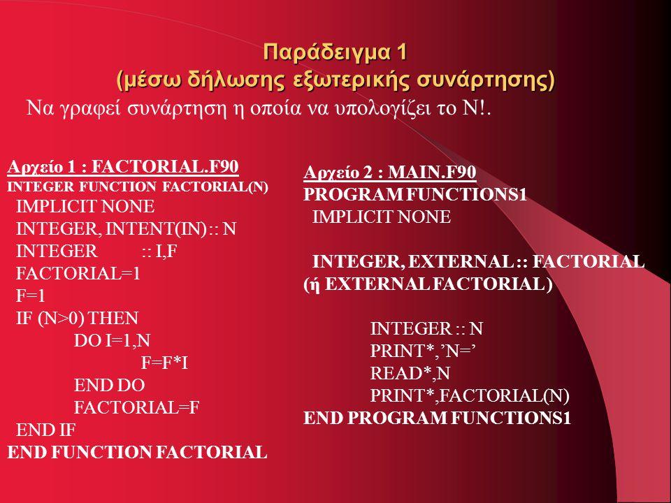 Παράδειγμα 1 (μέσω δήλωσης εξωτερικής συνάρτησης) Να γραφεί συνάρτηση η οποία να υπολογίζει το N!. Αρχείο 1 : FACTORIAL.F90 INTEGER FUNCTION FACTORIAL