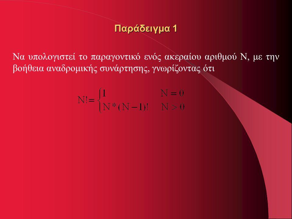 Παράδειγμα 1 Να υπολογιστεί το παραγοντικό ενός ακεραίου αριθμού Ν, με την βοήθεια αναδρομικής συνάρτησης, γνωρίζοντας ότι