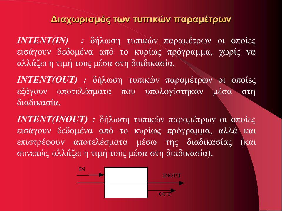 Διαχωρισμός των τυπικών παραμέτρων INTENT(IN) : δήλωση τυπικών παραμέτρων οι οποίες εισάγουν δεδομένα από το κυρίως πρόγραμμα, χωρίς να αλλάζει η τιμή