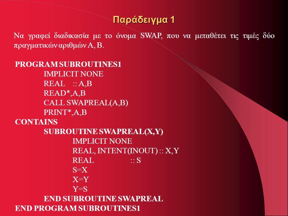 Παράδειγμα 1 Να γραφεί διαδικασία με το όνομα SWAP, που να μεταθέτει τις τιμές δύο πραγματικών αριθμών Α, Β. PROGRAM SUBROUTINES1 IMPLICIT NONE REAL::