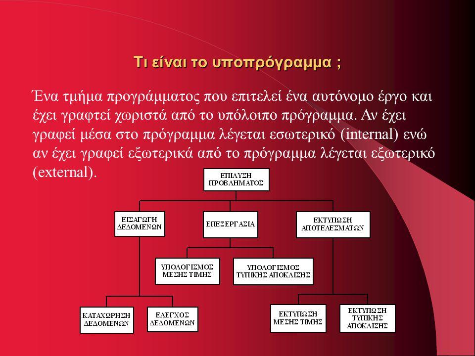 Τι είναι το υποπρόγραμμα ; Ένα τμήμα προγράμματος που επιτελεί ένα αυτόνομο έργο και έχει γραφτεί χωριστά από το υπόλοιπο πρόγραμμα. Αν έχει γραφεί μέ