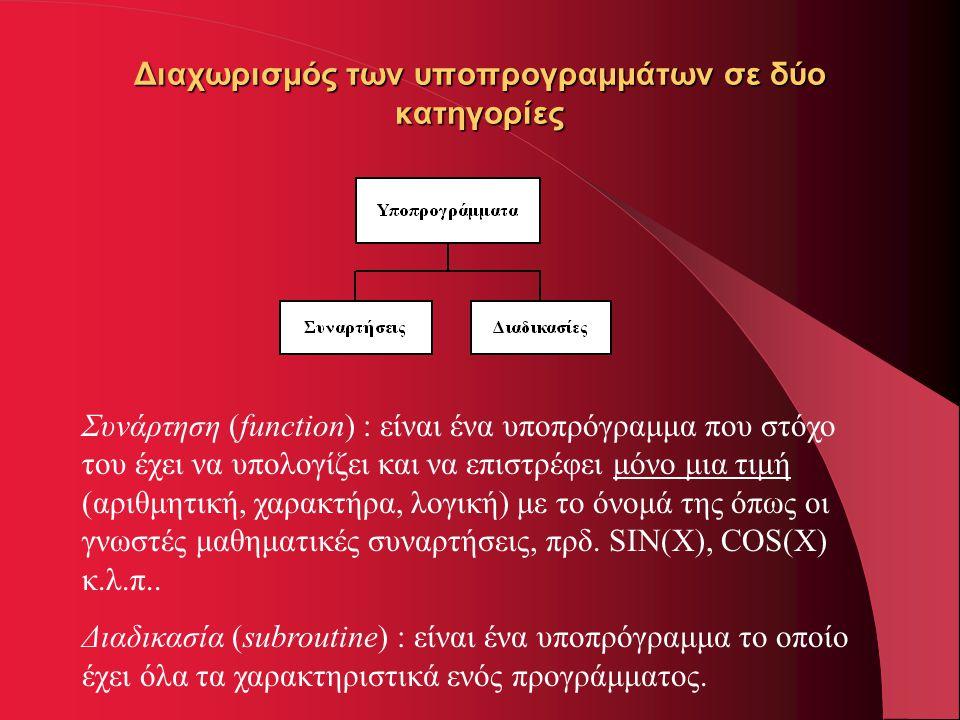 Διαχωρισμός των υποπρογραμμάτων σε δύο κατηγορίες Συνάρτηση (function) : είναι ένα υποπρόγραμμα που στόχο του έχει να υπολογίζει και να επιστρέφει μόν