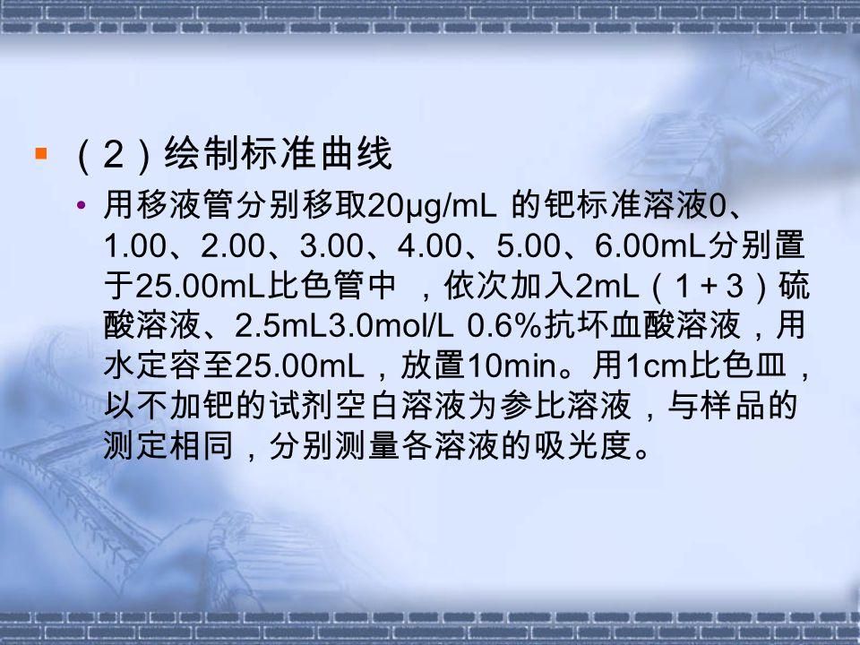  ( 2 )绘制标准曲线 用移液管分别移取 20μg/mL 的钯标准溶液 0 、 1.00 、 2.00 、 3.00 、 4.00 、 5.00 、 6.00mL 分别置 于 25.00mL 比色管中 ,依次加入 2mL ( 1 + 3 )硫 酸溶液、 2.5mL3.0mol/L 0.6% 抗坏血酸溶液,用 水定容至 25.00mL ,放置 10min 。用 1cm 比色皿, 以不加钯的试剂空白溶液为参比溶液,与样品的 测定相同,分别测量各溶液的吸光度。