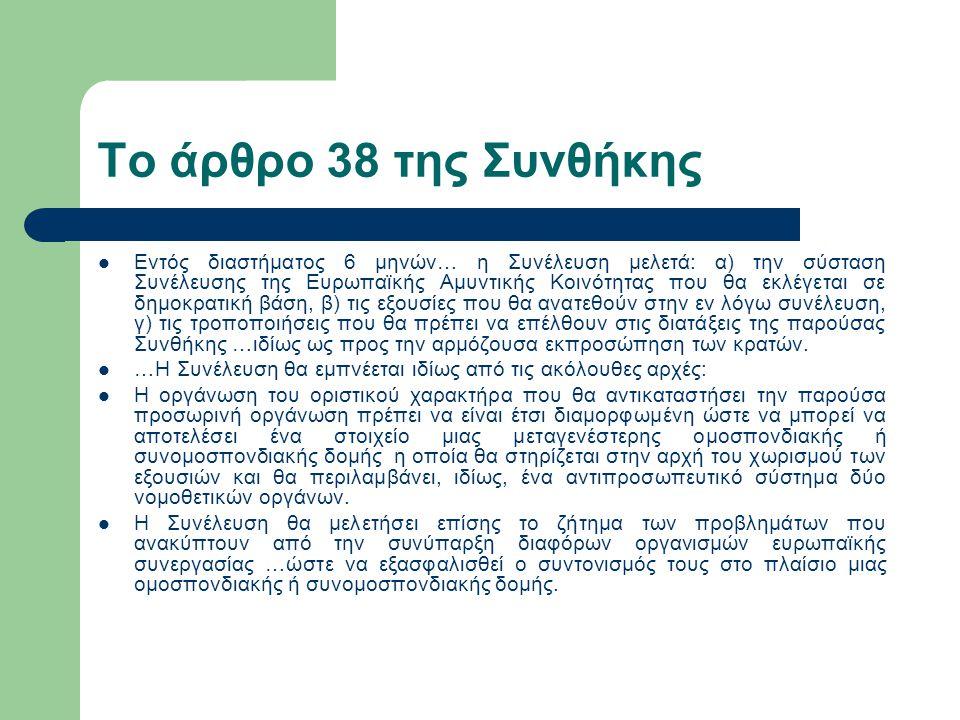 Το άρθρο 38 της Συνθήκης Εντός διαστήματος 6 μηνών… η Συνέλευση μελετά: α) την σύσταση Συνέλευσης της Ευρωπαϊκής Αμυντικής Κοινότητας που θα εκλέγεται σε δημοκρατική βάση, β) τις εξουσίες που θα ανατεθούν στην εν λόγω συνέλευση, γ) τις τροποποιήσεις που θα πρέπει να επέλθουν στις διατάξεις της παρούσας Συνθήκης …ιδίως ως προς την αρμόζουσα εκπροσώπηση των κρατών.
