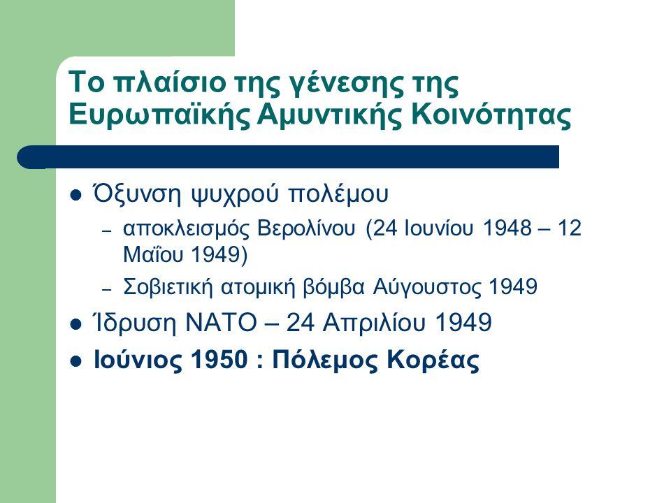 Το πλαίσιο της γένεσης της Ευρωπαϊκής Αμυντικής Κοινότητας Όξυνση ψυχρού πολέμου – αποκλεισμός Βερολίνου (24 Ιουνίου 1948 – 12 Μαΐου 1949) – Σοβιετική ατομική βόμβα Αύγουστος 1949 Ίδρυση ΝΑΤΟ – 24 Απριλίου 1949 Ιούνιος 1950 : Πόλεμος Κορέας
