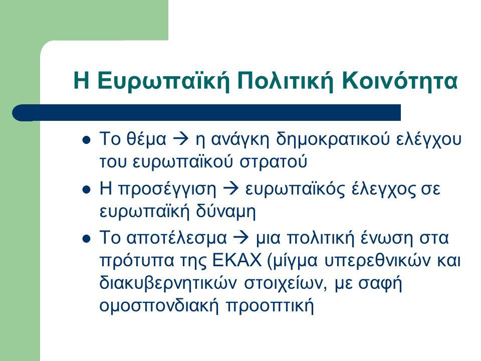 Οι στόχοι της ΕΟΚ Απελευθέρωση συναλλαγών μεταξύ των κρατών μελών με σταδιακή μείωση των δασμών Τελωνειακή ένωση  μέσα σε 10 έτη Κοινή αγορά (με ασαφή χαρακτηριστικά στη Συνθήκη) Η θέσπιση κοινών πολιτικών (γεωργία, μεταφορές) στους τομείς της κοινής αγοράς Υποφώσκων στόχος Η βαθύτερη ενοποίηση