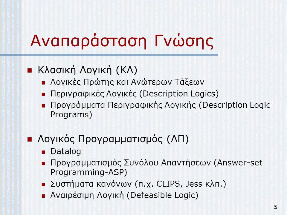 5 Αναπαράσταση Γνώσης Κλασική Λογική (ΚΛ) Λογικές Πρώτης και Ανώτερων Τάξεων Περιγραφικές Λογικές (Description Logics) Προγράμματα Περιγραφικής Λογική