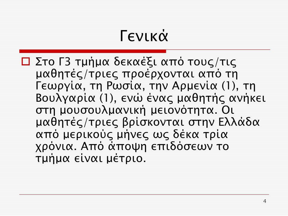 4 Γενικά  Στο Γ3 τμήμα δεκαέξι από τους/τις μαθητές/τριες προέρχονται από τη Γεωργία, τη Ρωσία, την Αρμενία (1), τη Βουλγαρία (1), ενώ ένας μαθητής α