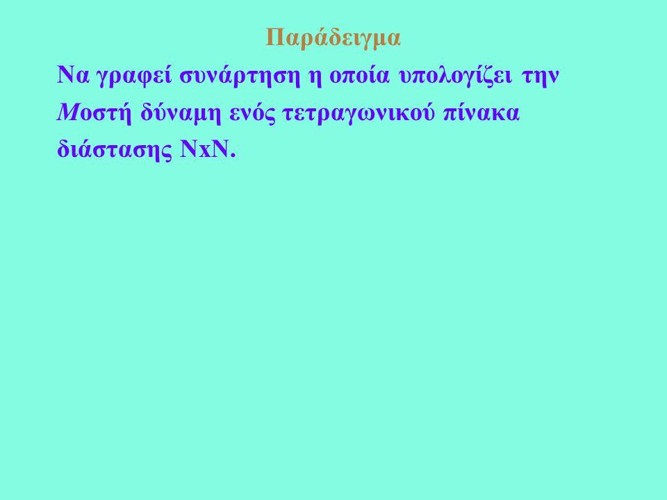 Παράδειγμα Να γραφεί συνάρτηση η οποία υπολογίζει την Μοστή δύναμη ενός τετραγωνικού πίνακα διάστασης ΝxN.