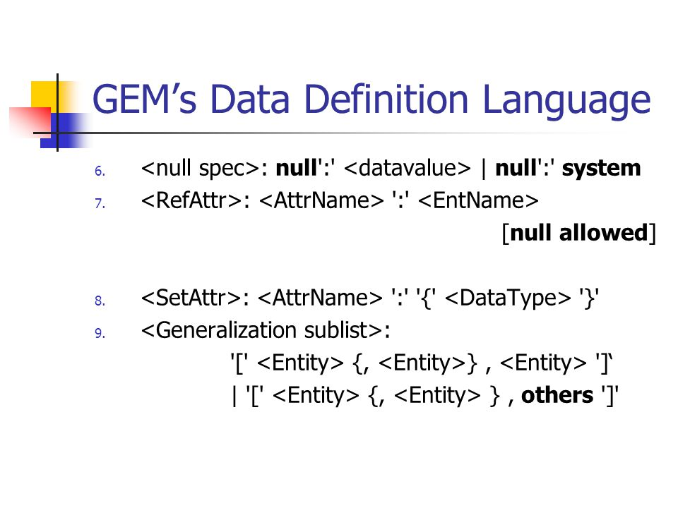 GEM's Data Definition Language 6. : null':' | null':' system 7. : ':' [null allowed] 8. : ':' '{' '}' 9. : '[' {, }, ']' | '[' {, }, others ']'