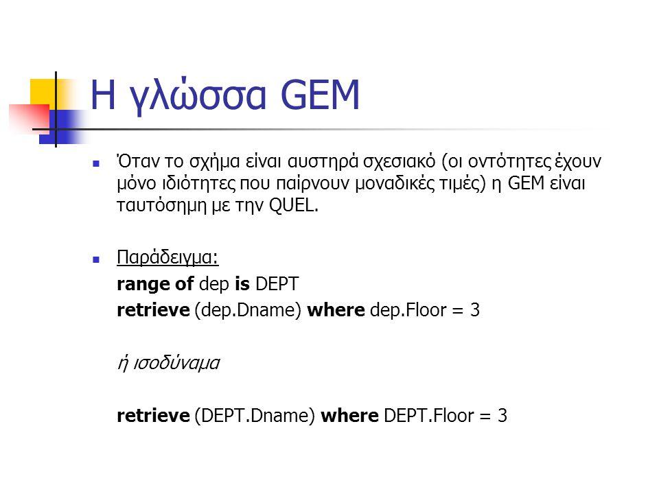 Η γλώσσα GEM Όταν το σχήμα είναι αυστηρά σχεσιακό (οι οντότητες έχουν μόνο ιδιότητες που παίρνουν μοναδικές τιμές) η GEM είναι ταυτόσημη με την QUEL.