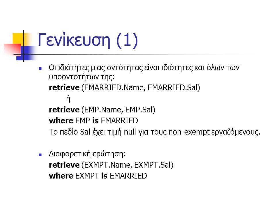Γενίκευση (1) Οι ιδιότητες μιας οντότητας είναι ιδιότητες και όλων των υποοντοτήτων της: retrieve (EMARRIED.Name, EMARRIED.Sal) ή retrieve (EMP.Name, EMP.Sal) where EMP is EMARRIED Το πεδίο Sal έχει τιμή null για τους non-exempt εργαζόμενους.