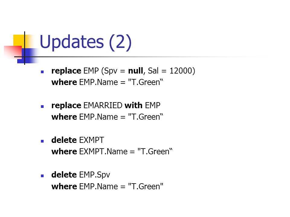 Updates (2) replace EMP (Spv = null, Sal = 12000) where EMP.Name =