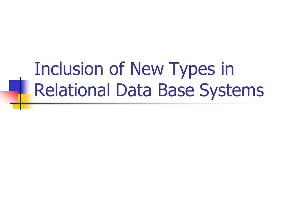 Inclusion of New Types in Relational Data Base Systems