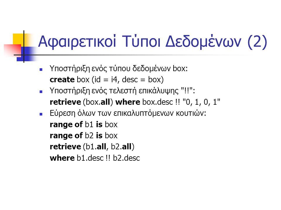 Αφαιρετικοί Τύποι Δεδομένων (2) Υποστήριξη ενός τύπου δεδομένων box: create box (id = i4, desc = box) Υποστήριξη ενός τελεστή επικάλυψης !! : retrieve (box.all) where box.desc !.