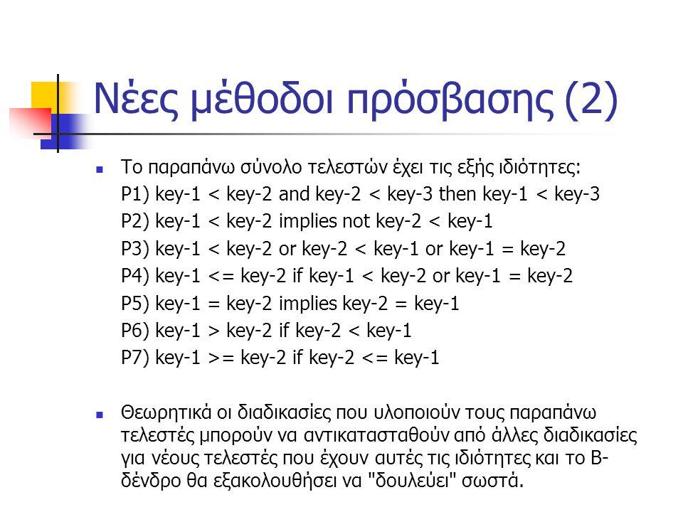 Νέες μέθοδοι πρόσβασης (2) Το παραπάνω σύνολο τελεστών έχει τις εξής ιδιότητες: P1) key-1 < key-2 and key-2 < key-3 then key-1 < key-3 P2) key-1 < key-2 implies not key-2 < key-1 P3) key-1 < key-2 or key-2 < key-1 or key-1 = key-2 P4) key-1 <= key-2 if key-1 < key-2 or key-1 = key-2 P5) key-1 = key-2 implies key-2 = key-1 P6) key-1 > key-2 if key-2 < key-1 P7) key-1 >= key-2 if key-2 <= key-1 Θεωρητικά οι διαδικασίες που υλοποιούν τους παραπάνω τελεστές μπορούν να αντικατασταθούν από άλλες διαδικασίες για νέους τελεστές που έχουν αυτές τις ιδιότητες και το Β- δένδρο θα εξακολουθήσει να δουλεύει σωστά.