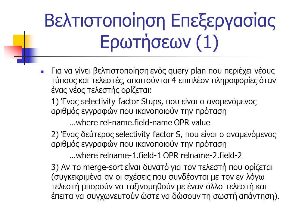 Βελτιστοποίηση Επεξεργασίας Ερωτήσεων (1) Για να γίνει βελτιστοποίηση ενός query plan που περιέχει νέους τύπους και τελεστές, απαιτούνται 4 επιπλέον π