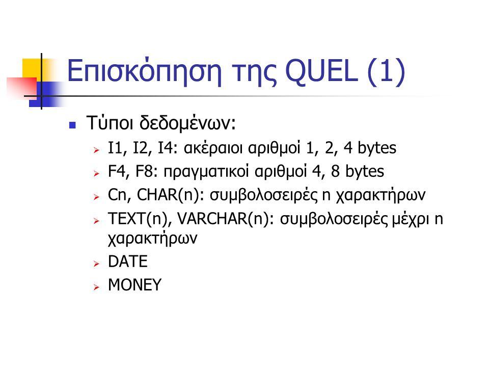 Επισκόπηση της QUEL (1) Τύποι δεδομένων:  I1, I2, I4: ακέραιοι αριθμοί 1, 2, 4 bytes  F4, F8: πραγματικοί αριθμοί 4, 8 bytes  Cn, CHAR(n): συμβολοσειρές n χαρακτήρων  TEXT(n), VARCHAR(n): συμβολοσειρές μέχρι n χαρακτήρων  DATE  MONEY