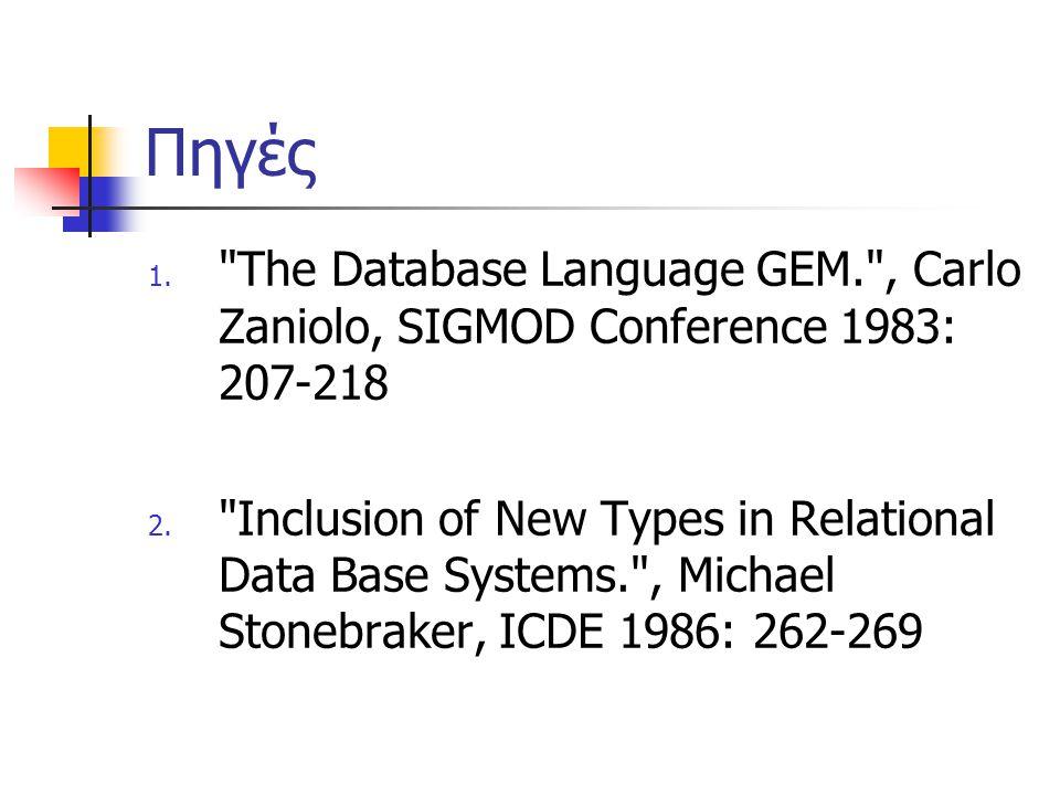 Πηγές 1. The Database Language GEM. , Carlo Zaniolo, SIGMOD Conference 1983: 207-218 2.