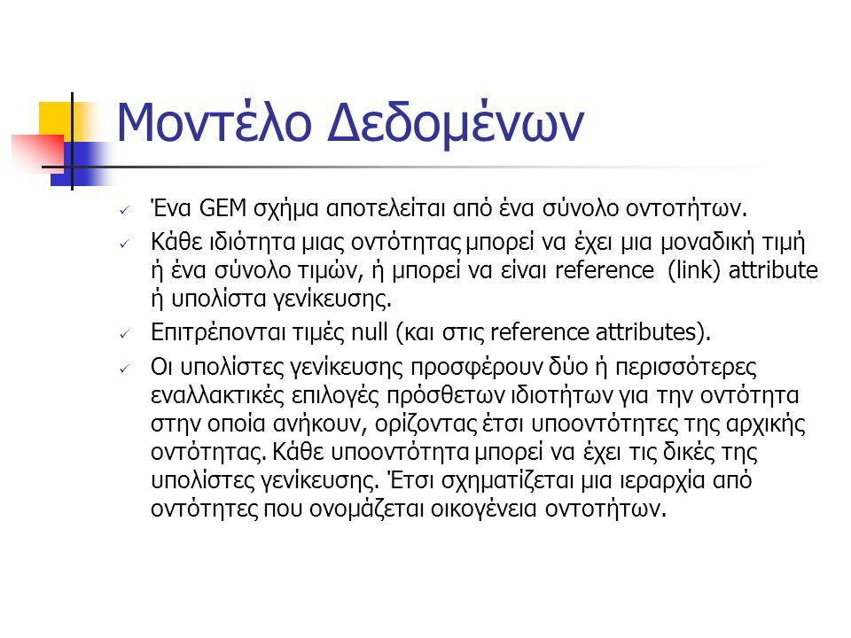 Μοντέλο Δεδομένων Ένα GEM σχήμα αποτελείται από ένα σύνολο οντοτήτων.