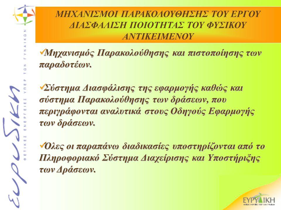 Μηχανισμός Παρακολούθησης και πιστοποίησης των παραδοτέων. Μηχανισμός Παρακολούθησης και πιστοποίησης των παραδοτέων. Σύστημα Διασφάλισης της εφαρμογή