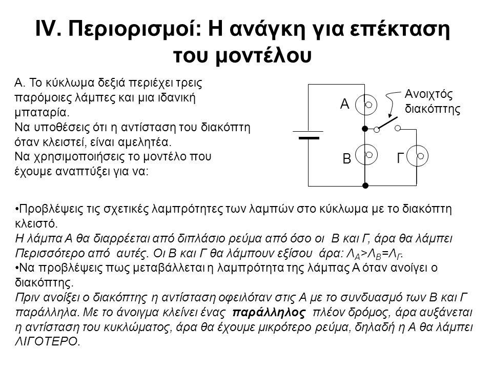 IV. Περιορισμοί: Η ανάγκη για επέκταση του μοντέλου Προβλέψεις τις σχετικές λαμπρότητες των λαμπών στο κύκλωμα με το διακόπτη κλειστό. Η λάμπα Α θα δι