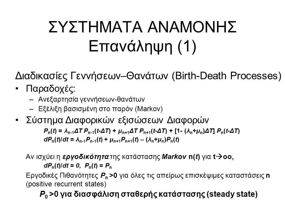 ΣΥΣΤΗΜΑΤΑ ΑΝΑΜΟΝΗΣ Επανάληψη (1) Διαδικασίες Γεννήσεων–Θανάτων (Birth-Death Processes) Παραδοχές: –Ανεξαρτησία γεννήσεων-θανάτων –Εξέλιξη βασισμένη στο παρόν (Markov) Σύστημα Διαφορικών εξισώσεων Διαφορών P n (t) = λ n-1 ΔΤ P n-1 (t-ΔΤ) + μ n+1 ΔΤ P n+1 (t-ΔΤ) + [1- (λ n +μ n )ΔΤ] P n (t-ΔΤ) dP n (t)/dt = λ n-1 P n-1 (t) + μ n+1 P n+1 (t) – (λ n +μ n )P n (t) Αν ισχύει η εργοδικότητα της κατάστασης Markov n(t) για t  oo, dP n (t)/dt = 0, P n (t) = P n Εργοδικές Πιθανότητες P n >0 για όλες τις απείρως επισκέψιμες καταστάσεις n (positive recurrent states) P 0 >0 για διασφάλιση σταθερής κατάστασης (steady state)