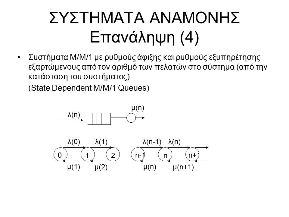 ΣΥΣΤΗΜΑΤΑ ΑΝΑΜΟΝΗΣ Επανάληψη (4) Συστήματα Μ/Μ/1 με ρυθμούς άφιξης και ρυθμούς εξυπηρέτησης εξαρτώμενους από τον αριθμό των πελατών στο σύστημα (από τ