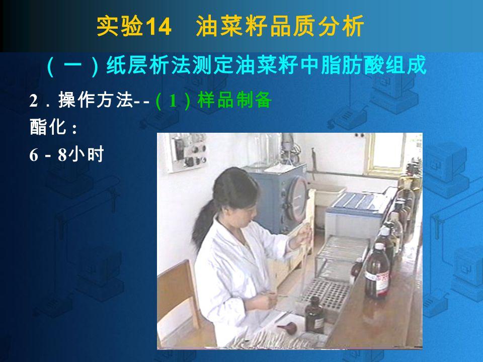 实验 14 油菜籽品质分析 2 .操作方法 - - ( 1 )样品制备 酸化 : 振摇 1 分钟, 静置分层。 (一)纸层析法测定油菜籽中脂肪酸组成