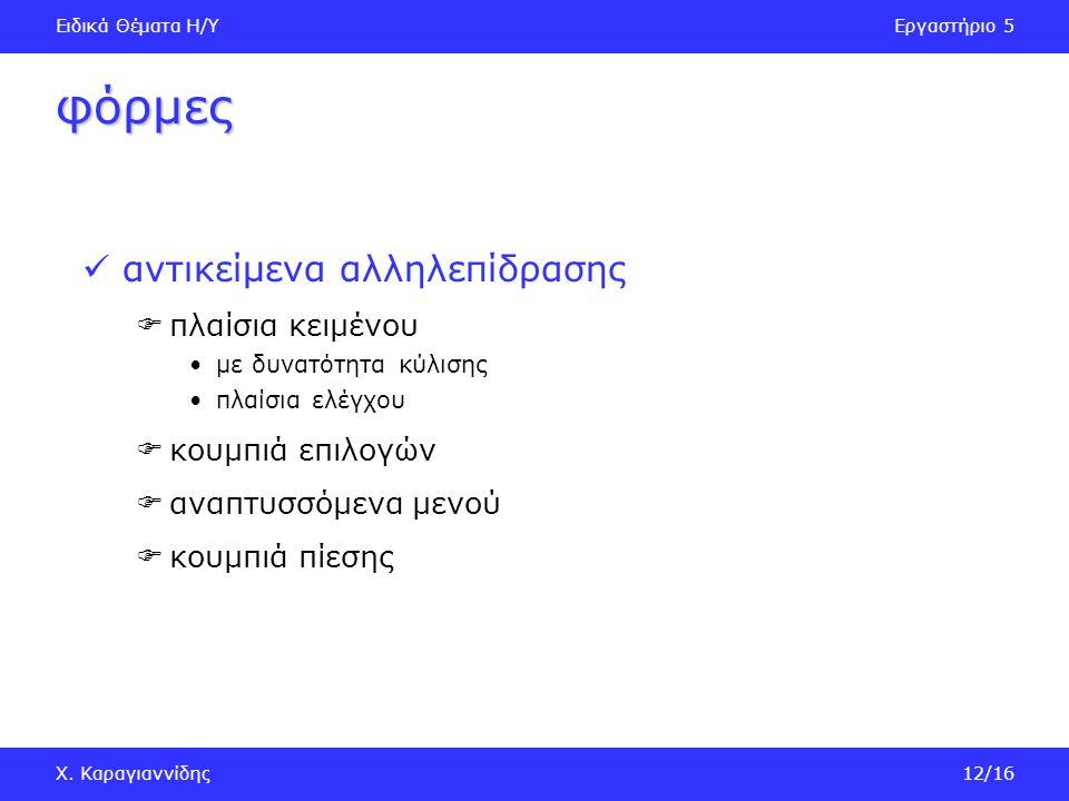 Ειδικά Θέματα Η/ΥΕργαστήριο 5 Χ. Καραγιαννίδης13/16 εισαγωγή φόρμας