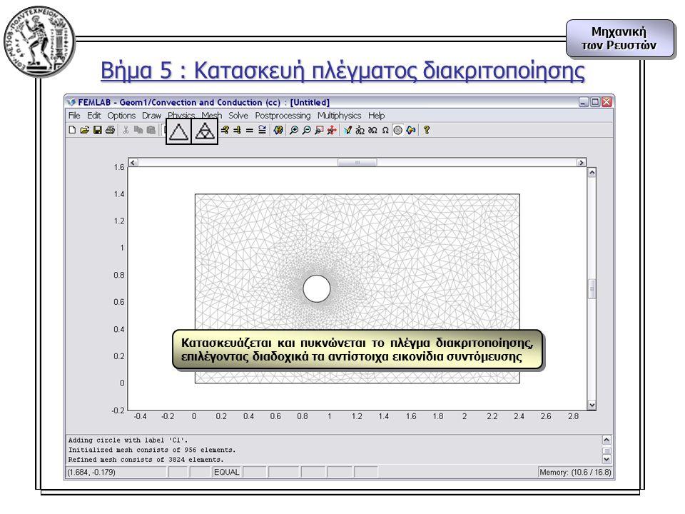 Μηχανική των Ρευστών Μηχανική Βήμα 5 : Κατασκευή πλέγματος διακριτοποίησης Κατασκευάζεται και πυκνώνεται το πλέγμα διακριτοποίησης, επιλέγοντας διαδοχικά τα αντίστοιχα εικονίδια συντόμευσης
