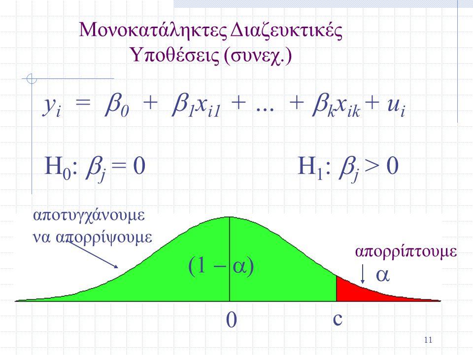 11 y i =  0 +  1 x i1 + … +  k x ik + u i H 0 :  j = 0 H 1 :  j > 0 c 0   Μονοκατάληκτες Διαζευκτικές Υποθέσεις (συνεχ.) αποτυγχάνουμε να