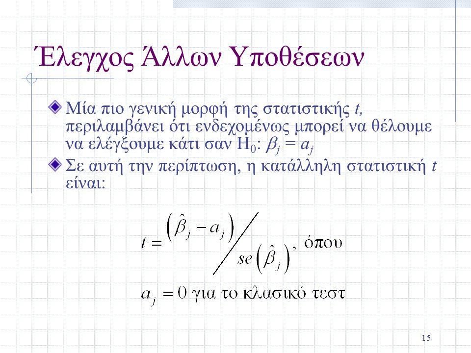 15 Έλεγχος Άλλων Υποθέσεων Μία πιο γενική μορφή της στατιστικής t, περιλαμβάνει ότι ενδεχομένως μπορεί να θέλουμε να ελέγξουμε κάτι σαν H 0 :  j = a