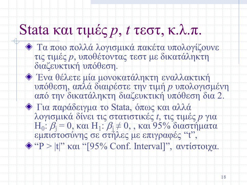 18 Stata και τιμές p, t τεστ, κ.λ.π. Τα ποιο πολλά λογισμικά πακέτα υπολογίζουνε τις τιμές p, υποθέτοντας τεστ με δικατάληκτη διαζευκτική υπόθεση. Ένα