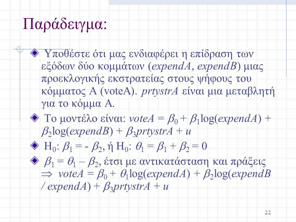 22 Παράδειγμα: Υποθέστε ότι μας ενδιαφέρει η επίδραση των εξόδων δύο κομμάτων (expendΑ, expendB) μιας προεκλογικής εκστρατείας στους ψήφους του κόμματ