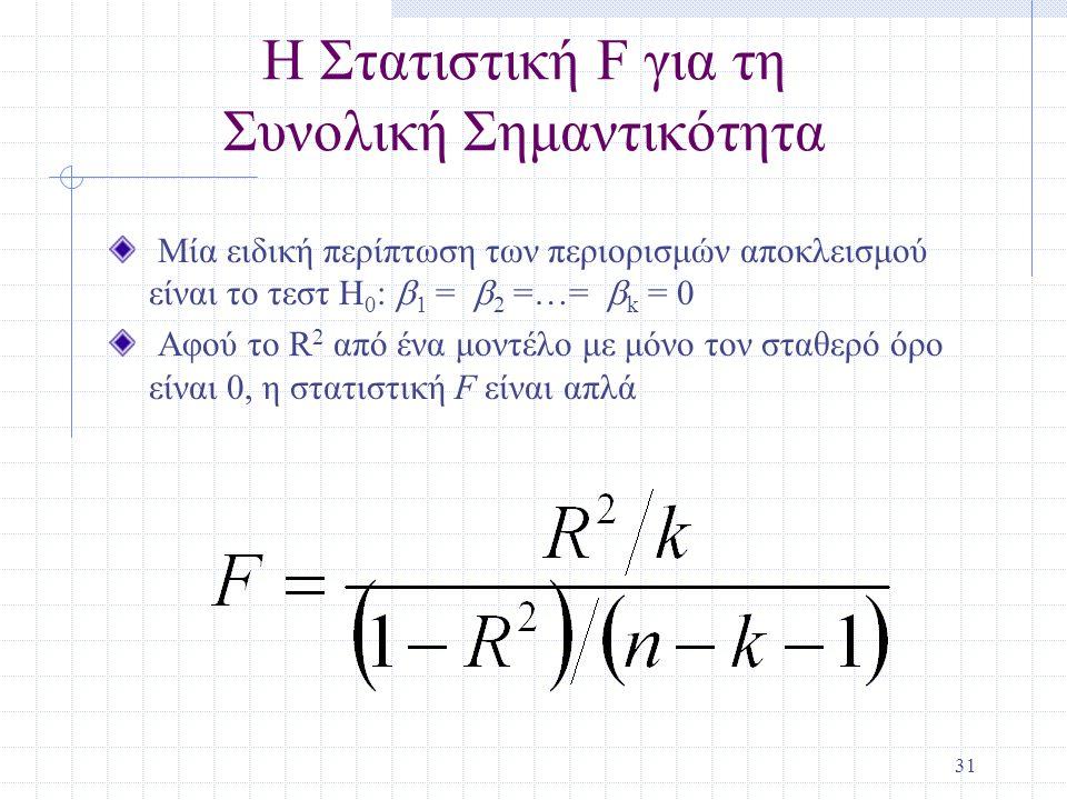 31 Η Στατιστική F για τη Συνολική Σημαντικότητα Μία ειδική περίπτωση των περιορισμών αποκλεισμού είναι το τεστ H 0 :  1 =  2 =…=  k = 0 Αφού το R 2