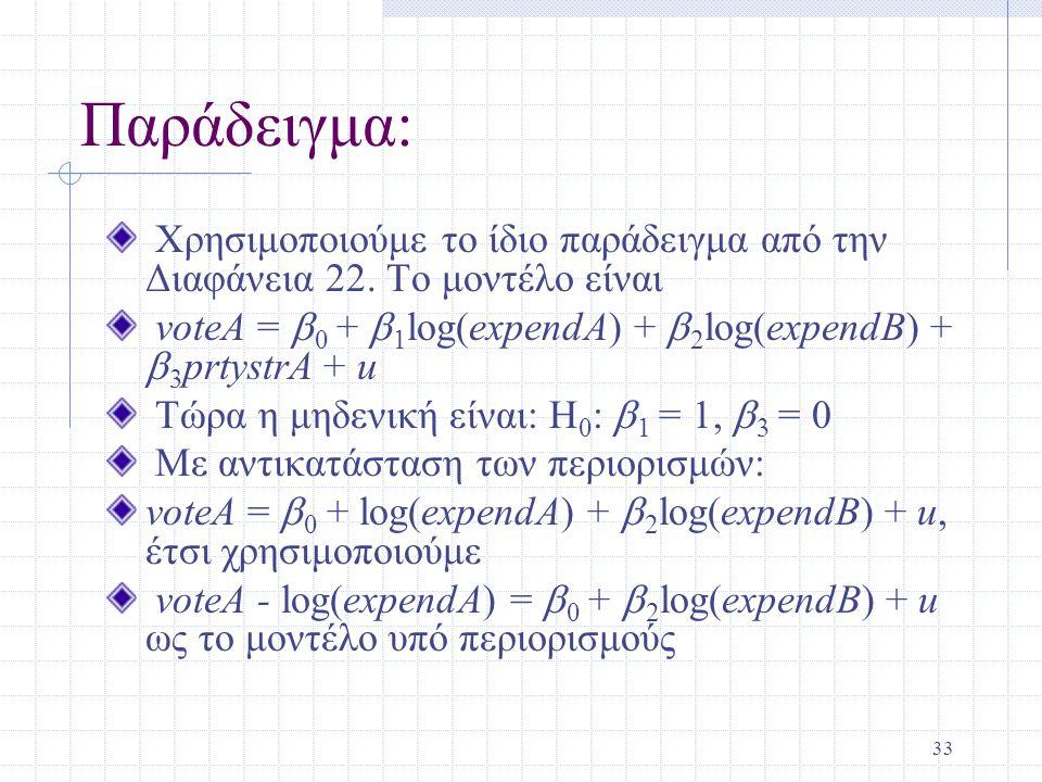 33 Παράδειγμα: Χρησιμοποιούμε το ίδιο παράδειγμα από την Διαφάνεια 22. Το μοντέλο είναι voteA =  0 +  1 log(expendA) +  2 log(expendB) +  3 prtyst