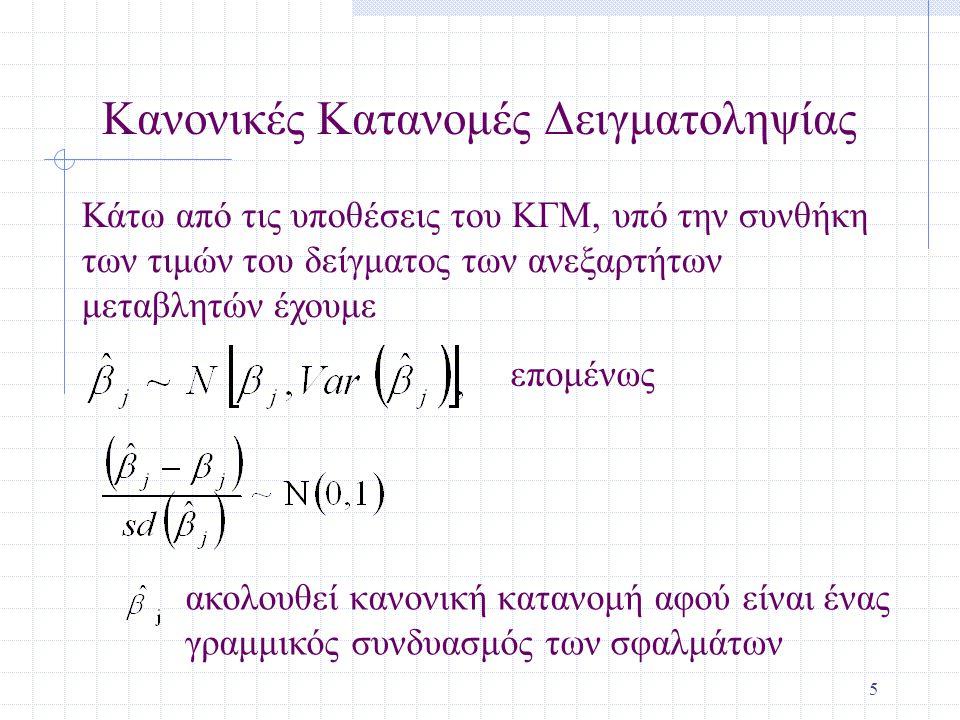 6 Το t Τεστ Κάτω από τις υποθέσεις του ΚΓΜ Σημειώστε ότι η t κατανομή (σε σχέση με την κανονική) αφού έχουμε να εκτιμήσουμε Σημειώστε ότι οι βαθμοί ελευθερίας είναι: n-k-1