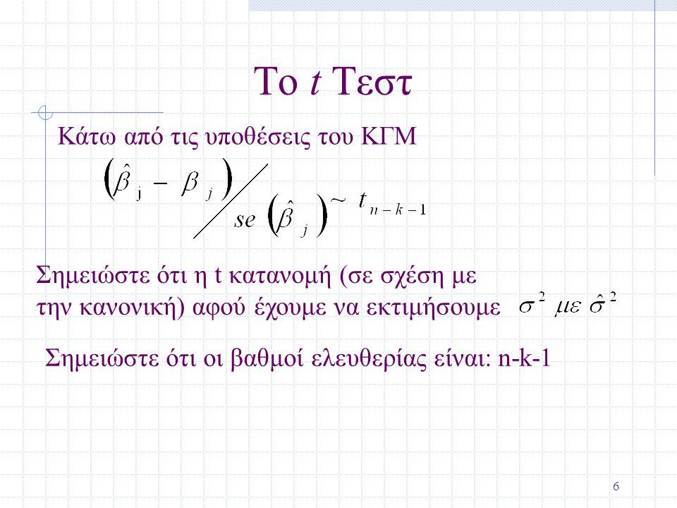 7 Το t Τεστ (συνεχ.) Γνωρίζοντας την κατανομή δειγματοληψίας για τον τυποποιημένο εκτιμητή μας επιτρέπει να εκτελέσουμε έλεγχο υποθέσεων Αρχίζουμε με μία μηδενική υπόθεση Για παράδειγμα, H 0 :  j =0 Εάν δεχθούμε την μηδενική υπόθεση, τότε δεχόμαστε ότι x j δεν έχει επίδραση στην y, περικλείοντας για όλες τις άλλες x's