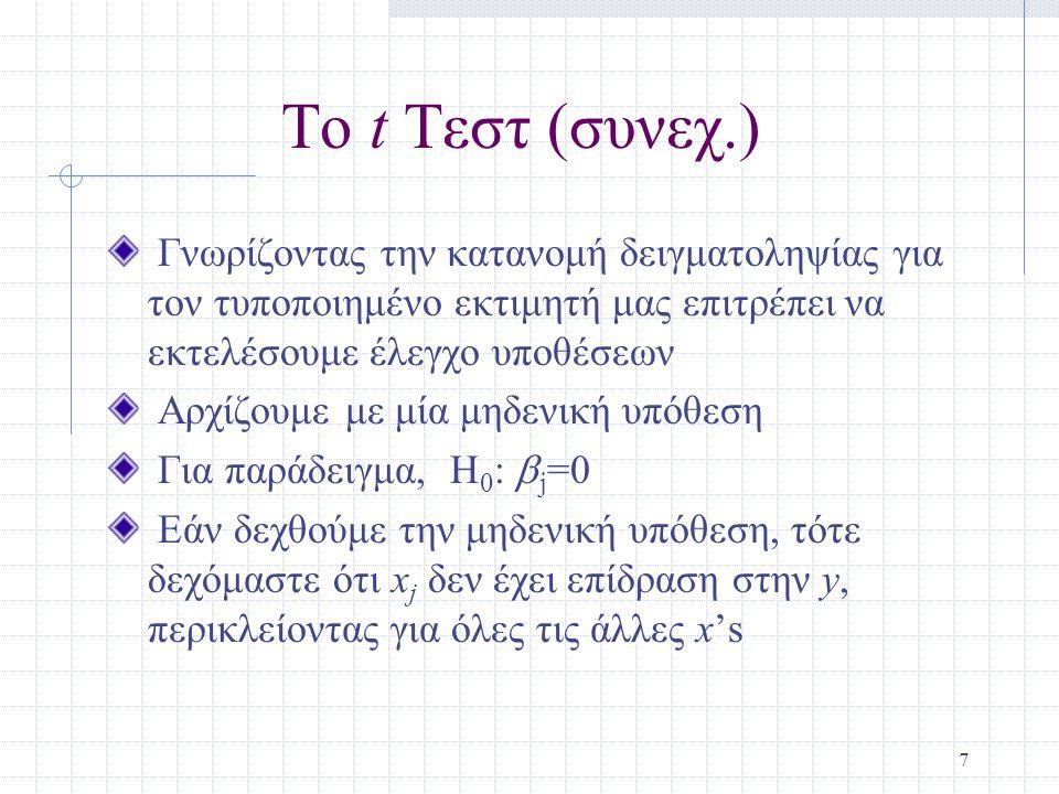 7 Το t Τεστ (συνεχ.) Γνωρίζοντας την κατανομή δειγματοληψίας για τον τυποποιημένο εκτιμητή μας επιτρέπει να εκτελέσουμε έλεγχο υποθέσεων Αρχίζουμε με