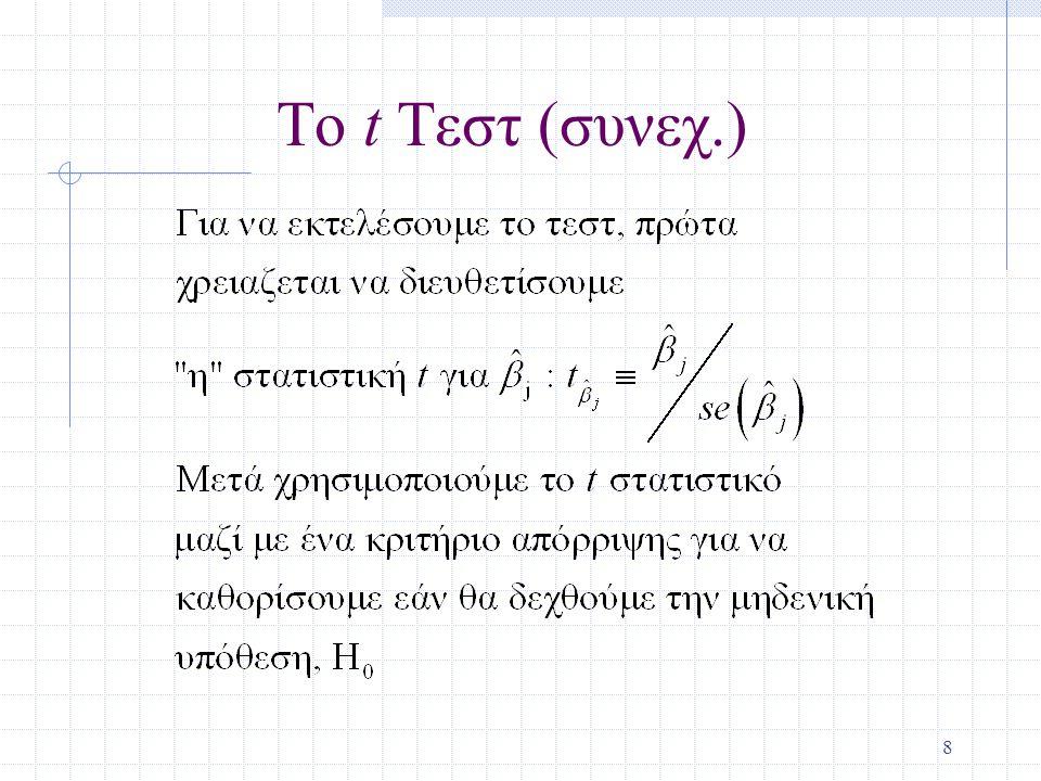 19 Έλεγχος Υποθέσεων για έναν Απλό Γραμμικό Συνδυασμό των Παραμέτρων Υποθέστε αντί για τον έλεγχο της  1 ίση με μία σταθερά, θέλουμε να ελέγξουμε εάν  1 είναι ίση με άλλη παράμετρο, δηλαδή H 0 :  1 =  2 Χρησιμοποιούμε την ίδια βασική διαδικασία διευθέτησης για την στατιστική t.