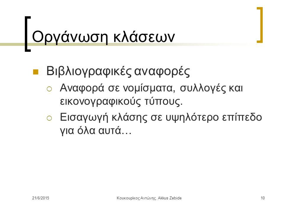 21/6/2015Κουκουρίκος Αντώνης, Akkus Zebide10 Οργάνωση κλάσεων Βιβλιογραφικές αναφορές  Αναφορά σε νομίσματα, συλλογές και εικονογραφικούς τύπους.  Ε