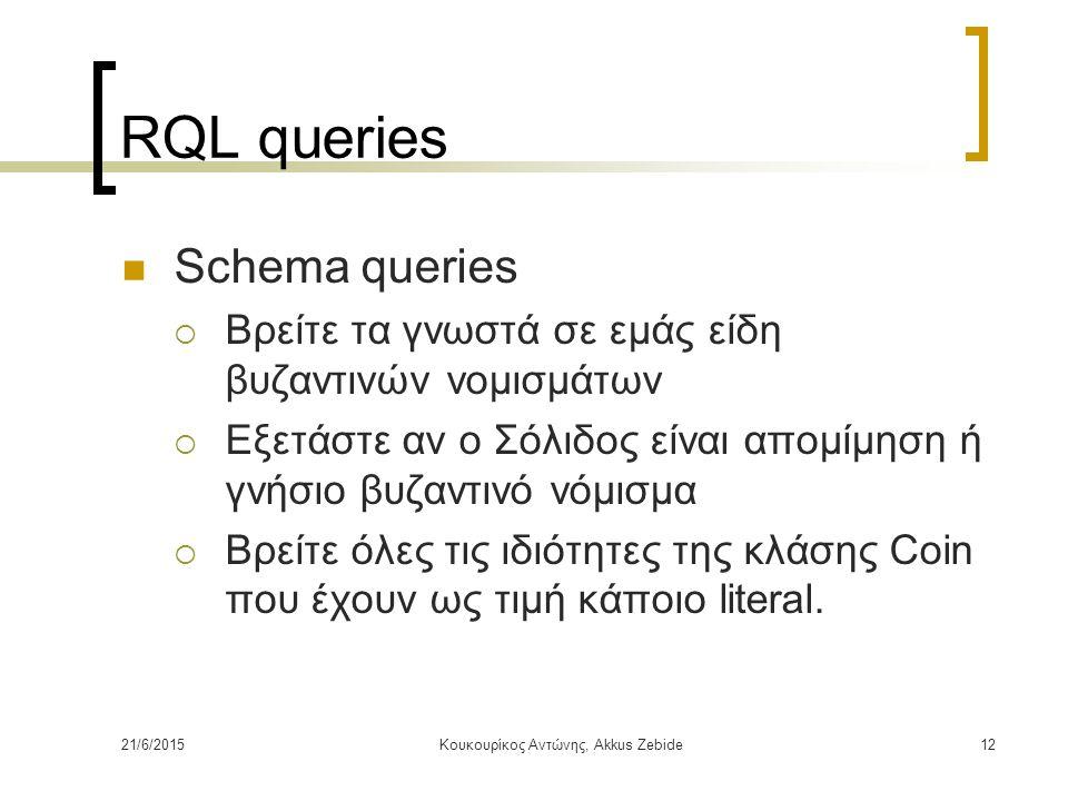 21/6/2015Κουκουρίκος Αντώνης, Akkus Zebide12 RQL queries Schema queries  Βρείτε τα γνωστά σε εμάς είδη βυζαντινών νομισμάτων  Εξετάστε αν ο Σόλιδος
